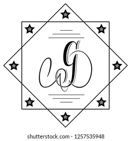 Beautiful copperplate letter G calligraphy monogram design
