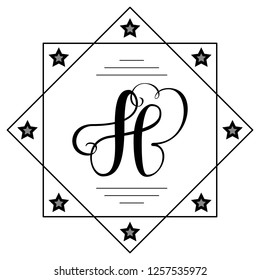 Beautiful copperplate letter H calligraphy monogram design