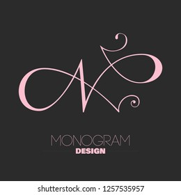 Beautiful copperplate letter N calligraphy monogram design