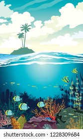 Beautiful coral reef with fishes and underwater creatures on a blue sea and silhouette of island with palm tree on a cloudy sky. Vector underwater seascape illustration. Ocean wildlife.