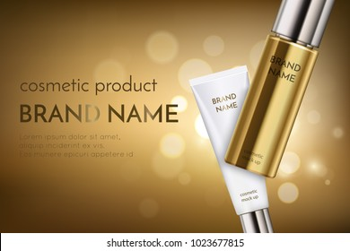 A beautiful cosmetic ads template, golden bottle hair oil with white cosmetic tube in 3d on a gold shiny background with bokeh and lighting flare effect