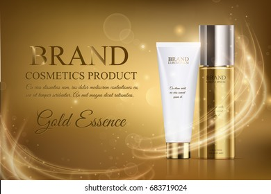 A beautiful cosmetic ads template, golden bottle hair oil with cosmetic tube design on a gold shiny background with splash bokeh and golden lighting flare effect. Luxury product, skin care magazine