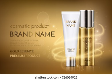 A beautiful cosmetic template for ads, golden bottle hair oil with white cosmetic tube design on a gold shiny background with bokeh and lighting flare effect, eps10. Skin care product