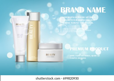 A beautiful cosmetic template for ads, realistic white tube, brown bottle and white jar on background with water bubbles. Moisturizing skincare cream, hair oil premium product