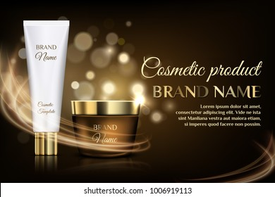 A beautiful cosmetic templates for ads design, realistic 3d golden jar and white tube for cream on a gold bokeh background with lighting flare effect.