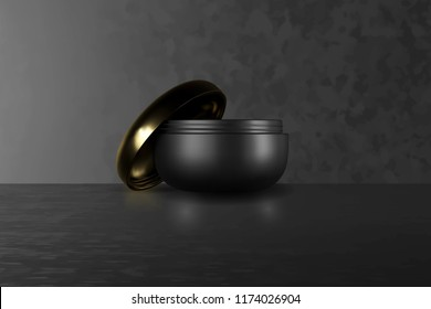 A beautiful cosmetic templates for ads, realistic 3d black matte cosmetic jar for skin care cream. Or Makeup magazine template with hair care products. Vector brand illustration