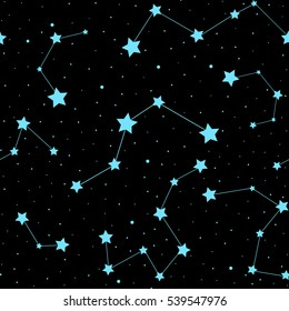 Beautiful cosmic space astronomy vector seamless pattern with stars and constellations on night starry sky. Decorative endless texture