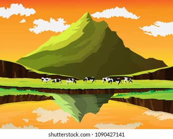 Beautiful country landscape .Autumn. Cow