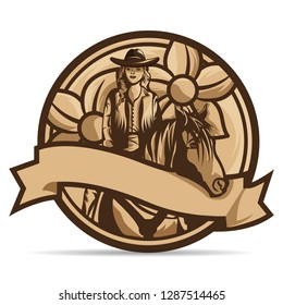 Beautiful Country Logo with Cowgirl and Horse and Flowers.