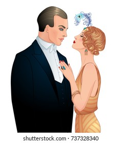 Beautiful Couple In Art Deco Style Isolated Retro Fashion Glamour Man And Woman Of