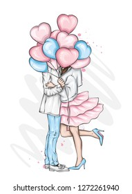 Beautiful couple with balloons in the shape of hearts. A girl in a dress and high-heeled shoes and a man in a coat and trousers. Valentine's Day, love and relationships. Vector illustration. Vector.