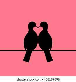 Beautiful couple of birds silhouette forming heart shape on pink sky background. Pigeons or doves on wire. EPS 8 vector illustration, no transparency