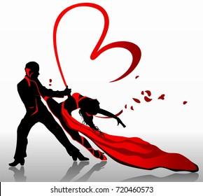 Beautiful couple in passionate dance.