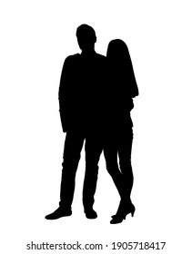 Beautiful couple standing together silhouette vector illustration isolated on white background