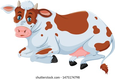 A beautiful cow is sitting cartoon vector and illustration