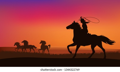 beautiful cowgirl chasing a herd of wild mustang horses at sunset - silhouette lanscape vector design