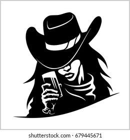 Beautiful cowgirl woman with glass - vector stock