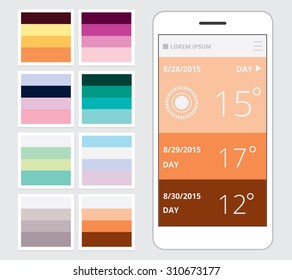Beautiful creative color combination sets for mobile and web application user interface designs