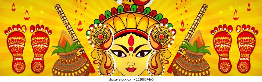 Beautiful and Creative face of Maa Durga or Devi Durga on colorful decorative festival background on the occassion of Durga Puja or chaitra Navratri Festival.