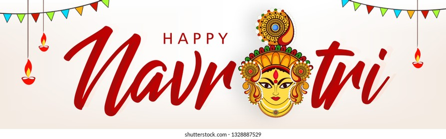 Beautiful and Creative face of Maa Durga or Devi Durga on colorful decorative festival background on the occassion of Durga Puja or chaitra Navratri Festival.