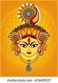 Beautiful and Creative face of Maa Durga or Devi Durga on colorful decorative background on the occassion of Durga Puja or Navratri Festival.
