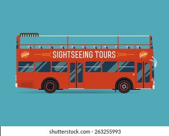 Beautiful creative flat design public transport web icon on double decker open top sightseeing city visiting bus, side view, isolated