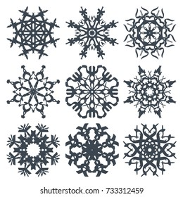 Beautiful, creative snowflakes SET 5 vector illustration