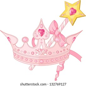 Beautiful crown and  magic wand  for true princess