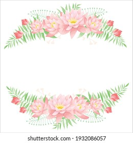 Beautiful curve pink waterlily bouquets for spring season greetings card