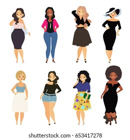 Beautiful curvy, overweight girl in casual, bikini, fashionable and evening dress. Cartoon vector illustration. Happy and smiling plus size, chubby, curvy girl.