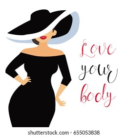 Beautiful curvy, overweight girls in black dress. Cartoon vector illustration. Happy and smiling plus size, chubby, curvy girl.