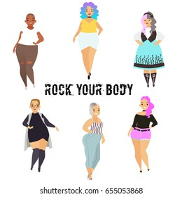 Beautiful curvy, overweight girls in casual, bikini, fashionable and evening dress. Cartoon vector illustration. Happy and smiling plus size, chubby, curvy girl.
