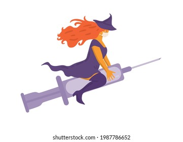 Beautiful curvy red haired witch flying on syringe instead of broom and wearing a face mask. Vaccination concept. Flat vector illustration