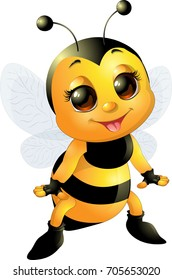 Beautiful cute bee smiling and standing