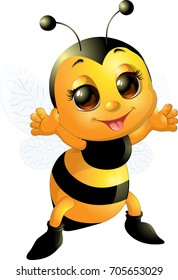 Beautiful cute bee smiling and standing with its arms open