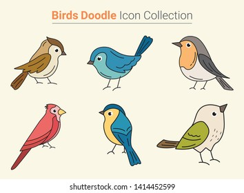Beautiful Cute Birds Doodle Icon Collection - Vector