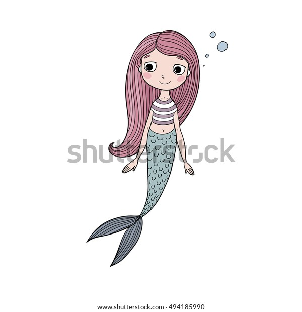 Beautiful Cute Cartoon Mermaid Long Hair Stock Vector Royalty Free 494185990