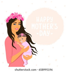 Beautiful and cute cartoon mother with baby. Happy motherhood. Illustration for Mother's Day. Vector illustration. Young and happy woman with child.