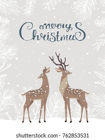 Beautiful and cute cartoon two stylized deer. Cartoon fairy deer. Amazing winter holiday card. Christmas greeting card. Vector illustration