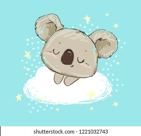 Beautiful Cute childish print with koala. Sketch Hand Drawn Animal koala Textile design Vector illustration.