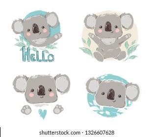 Beautiful Cute childish print Set with koala. Sketch Hand Drawn Animal koala textile design Vector illustration.