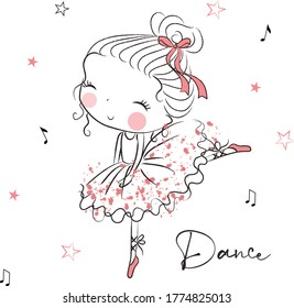 Beautiful cute girl drawn by hand. Vector illustration. Charming little ballerina girl dancing in ballet shoes and ballet tutu. Cute vector girl in ballet dress. Graphic T-shirts tee print for girls