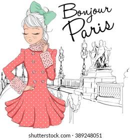 beautiful cute girl in paris, bonjour paris,goodmorning paris