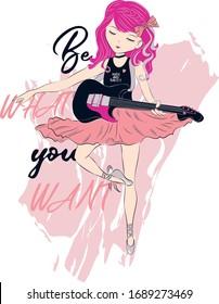 Beautiful, cute girl playing guitar with ballerina dress, rock star ballerina girl vector