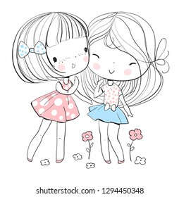Beautiful cute girls. Friends. Vector illustration. Art style girl for t-shirt print,sticker, greeting card, poster. Cartoon Characters.