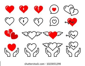 Beautiful cute heart icon set vector