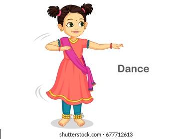 Beautiful cute little girl dancing Indian classical dance