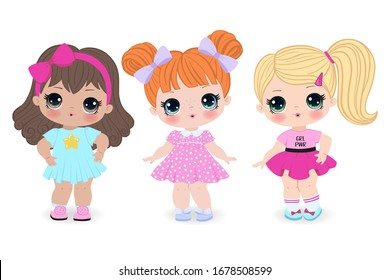 Beautiful cute little girls on the white background. Vector illustration