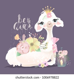 Beautiful and cute llama, alpaca with beautiful flowers, tied bow and whimsical romantic lantern, butterfly and bird