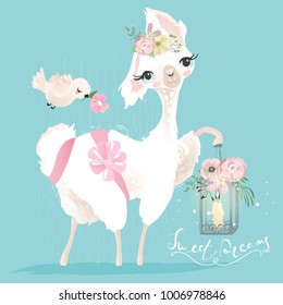Beautiful and cute llama, alpaca with beautiful flowers, tied bow and whimsical romantic lantern and bird